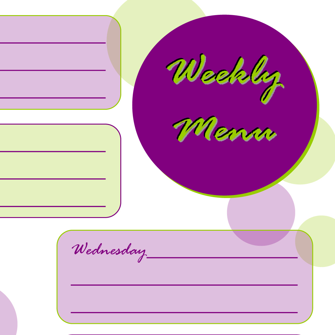 Taking Time To Create: Weekly Menu Planner {Free Printable} - Create A Menu Free Printable