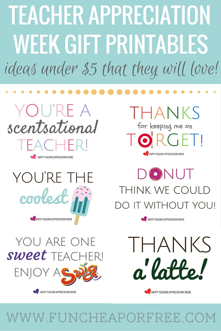 Teacher Appreciation Printables - Gifts Under $5! - Fun Cheap Or Free - Free Printable Teacher Appreciation Cards