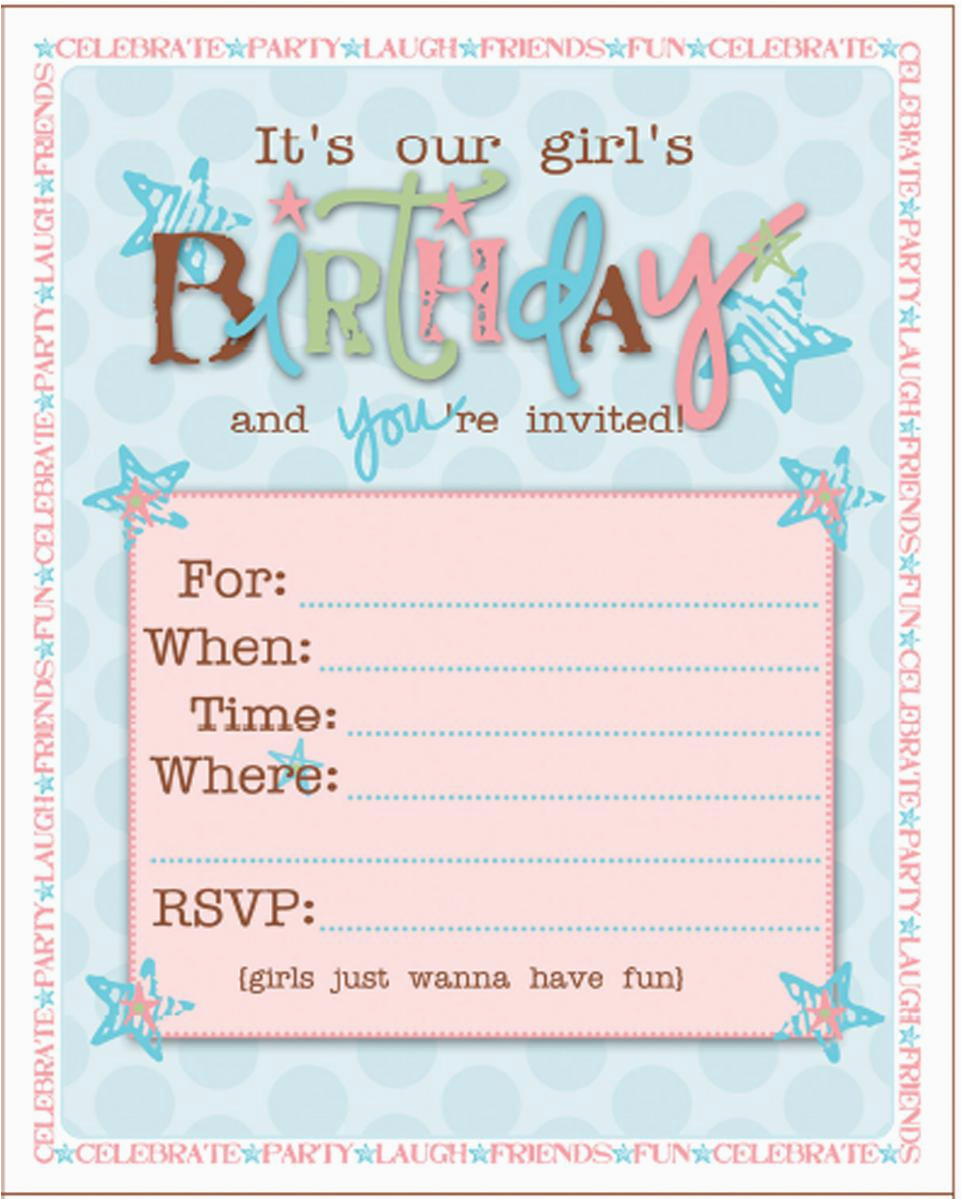 Teenage Girl Birthday Invitations Free Printable | Birthdaybuzz - Free Printable Girl Birthday Invitations