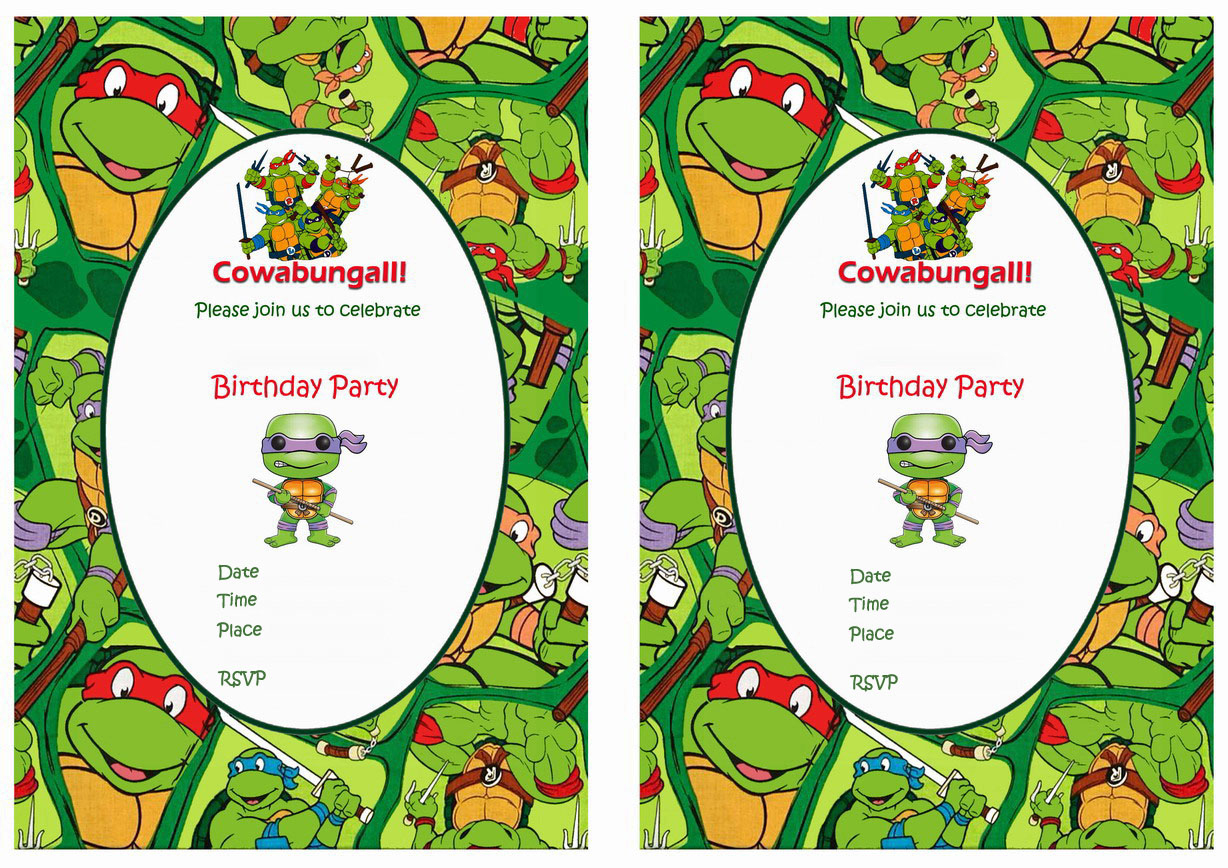 Teenage Mutant Ninja Turtles Birthday Invitations | Birthday Printable - Free Printable Ninja Turtle Birthday Invitations