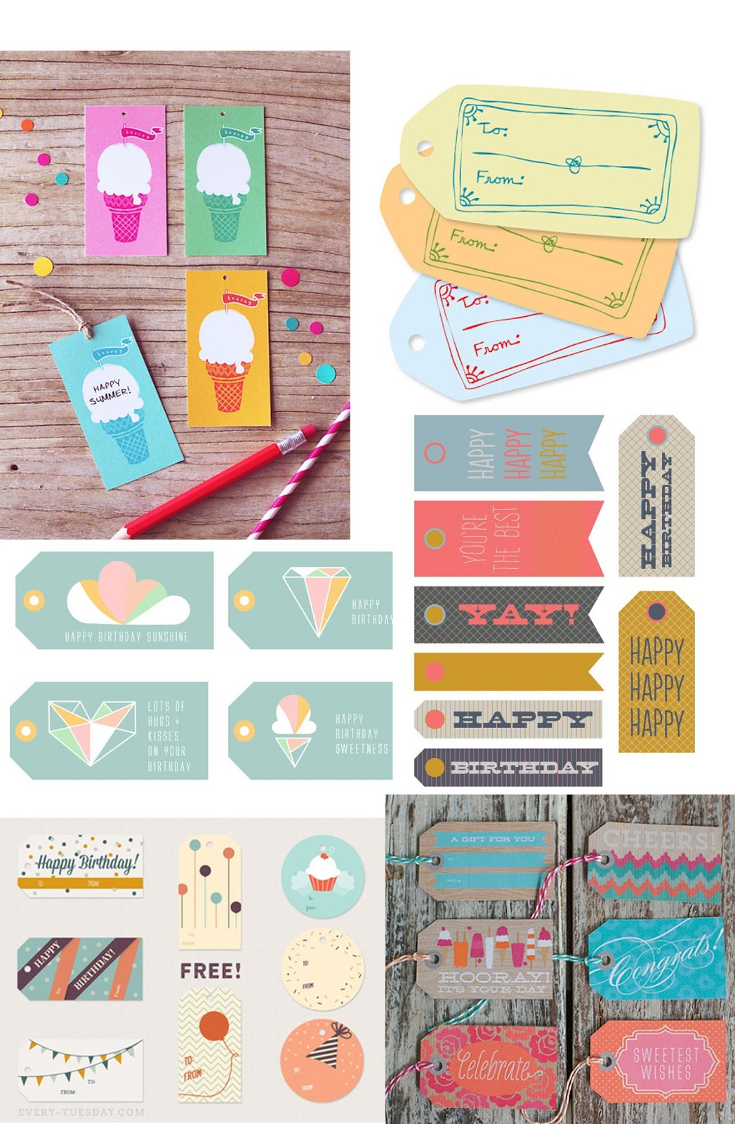 Tell: Free Printable Birthday Tags - Tell Love And Party - Free Printable Birthday Tags