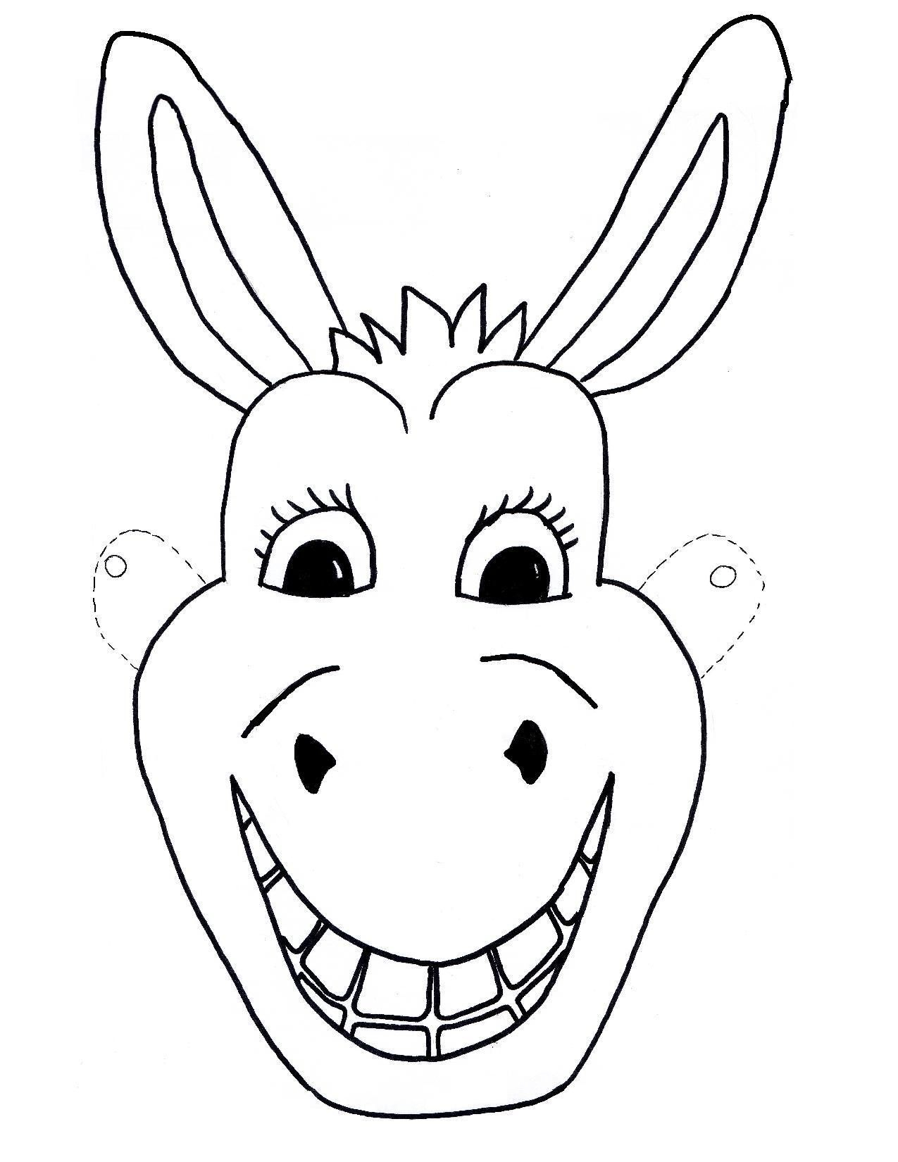 Template-Free-Kids-Mask-Donkey-Craft-Children- | Sunday School Ideas - Animal Face Masks Printable Free