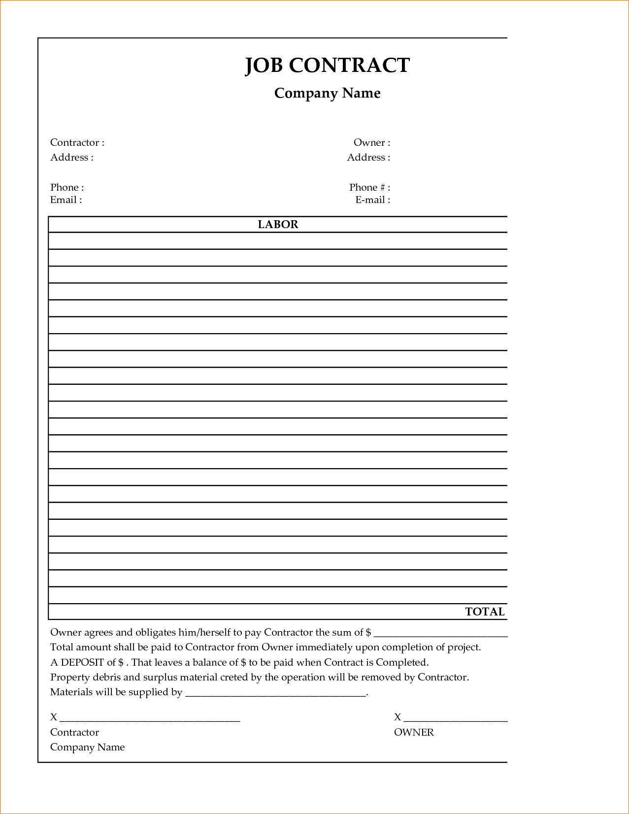 Template: Free Printable Construction Contract Template - Free Printable Construction Contracts