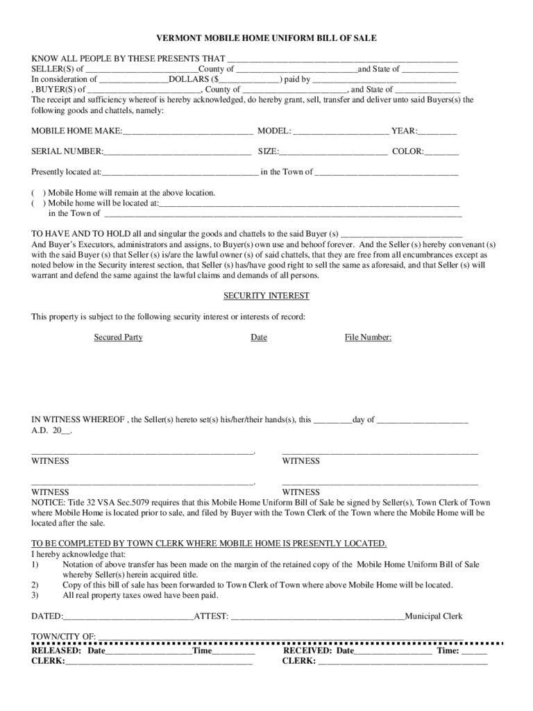 Template: Manufactured Mobile Home Bill Of Sale - Free Printable Bill Of Sale For Mobile Home