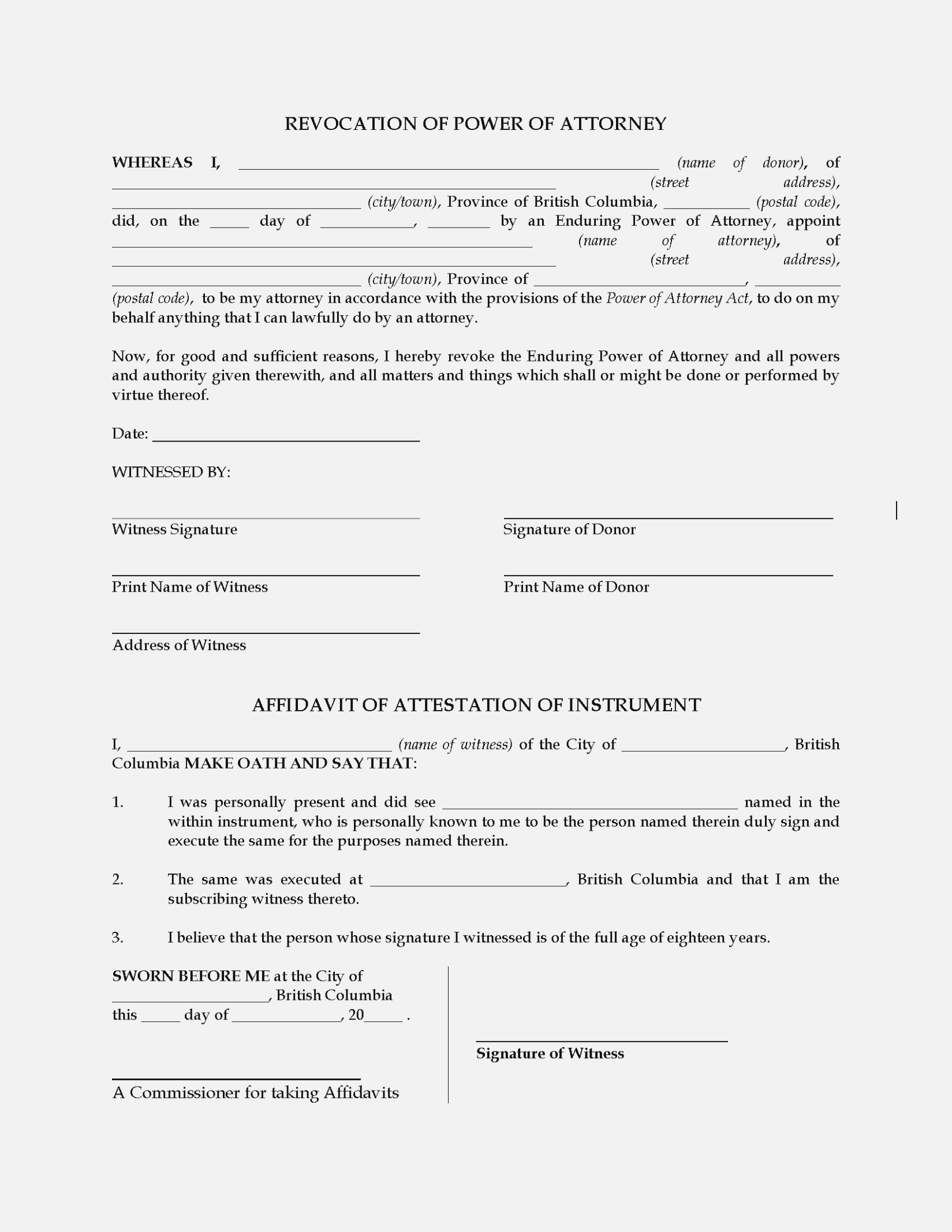 Template: Revocation Of Power Of Attorney – Free Printable - Free Printable Revocation Of Power Of Attorney Form