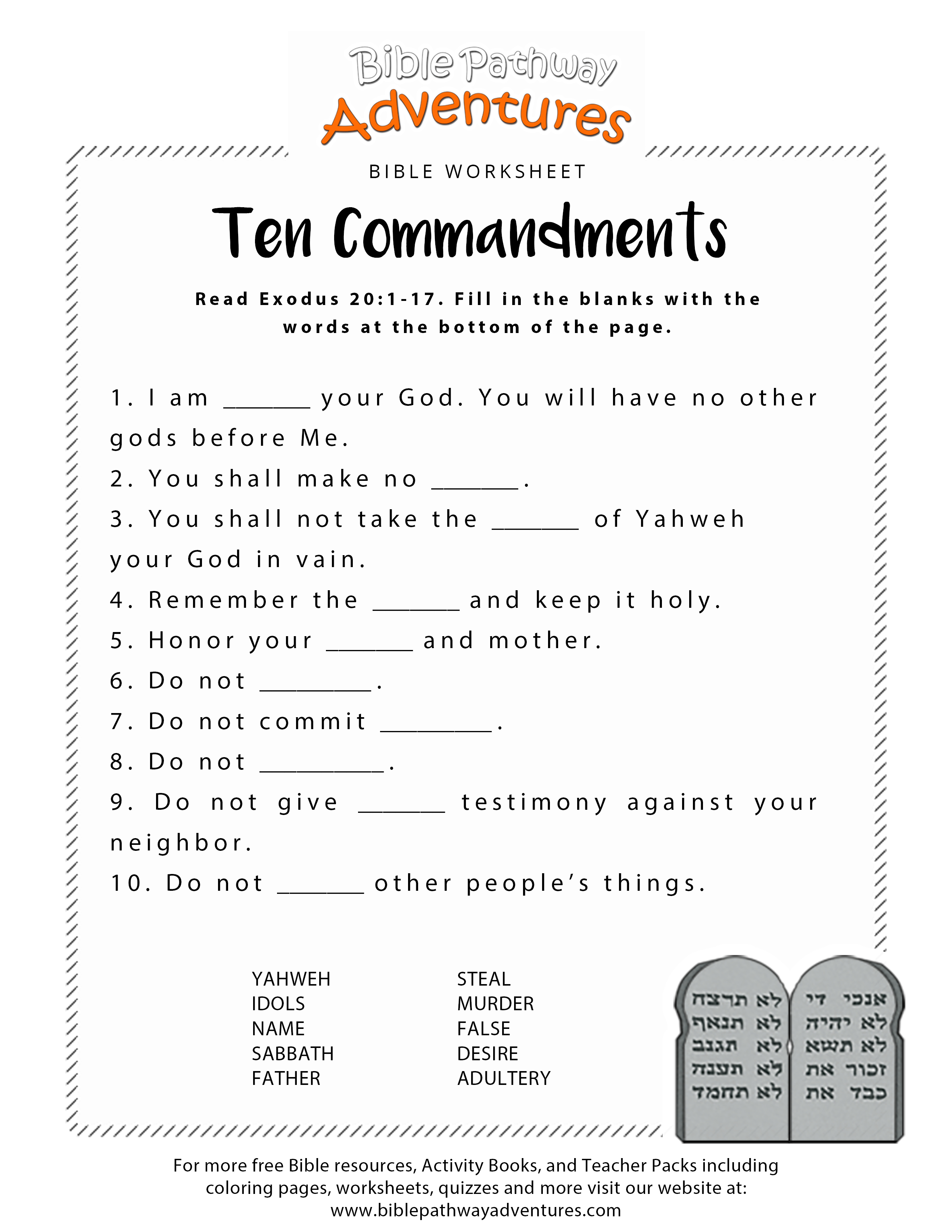 Ten Commandments Worksheet For Kids - Free Printable Bible Games For Youth