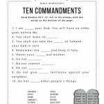 Ten Commandments Worksheet For Kids   Free Printable Ten Commandments Coloring Pages