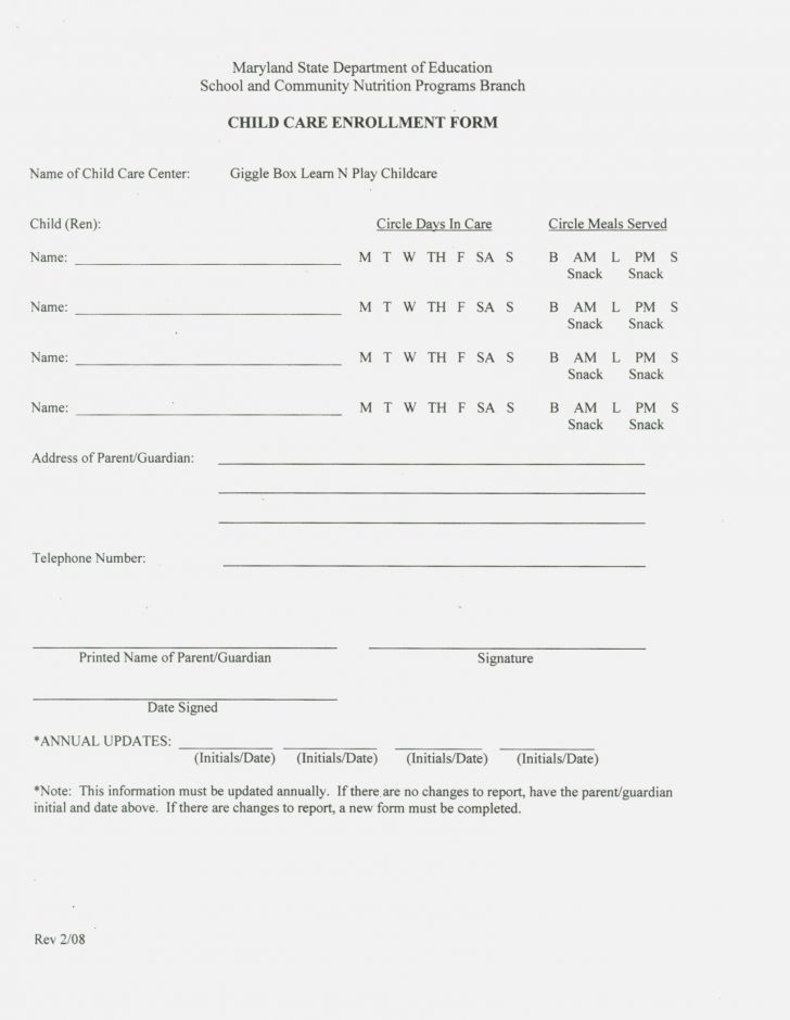 Free Printable Daycare Forms