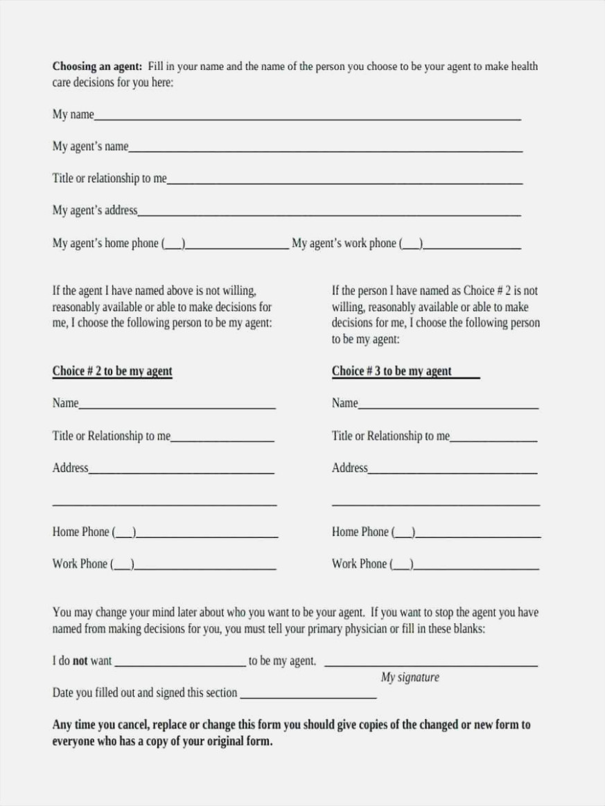 Ten Things You Won't Miss   Invoice And Resume Template Ideas - Free Printable Advance Directive Form