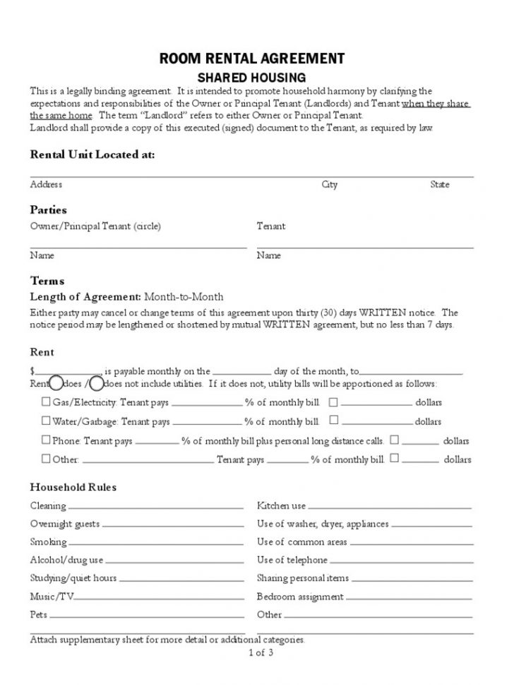 Free Printable Room Rental Agreement Forms
