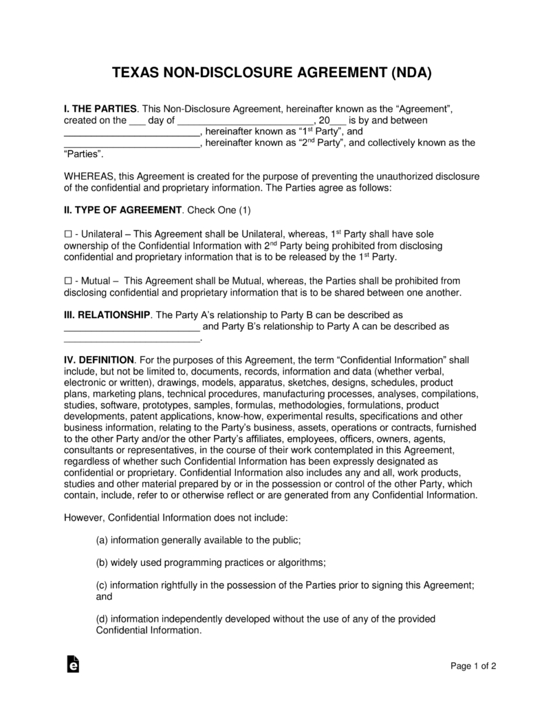 Texas Non-Disclosure Agreement (Nda) Template | Eforms – Free - Free Printable Non Disclosure Agreement Form