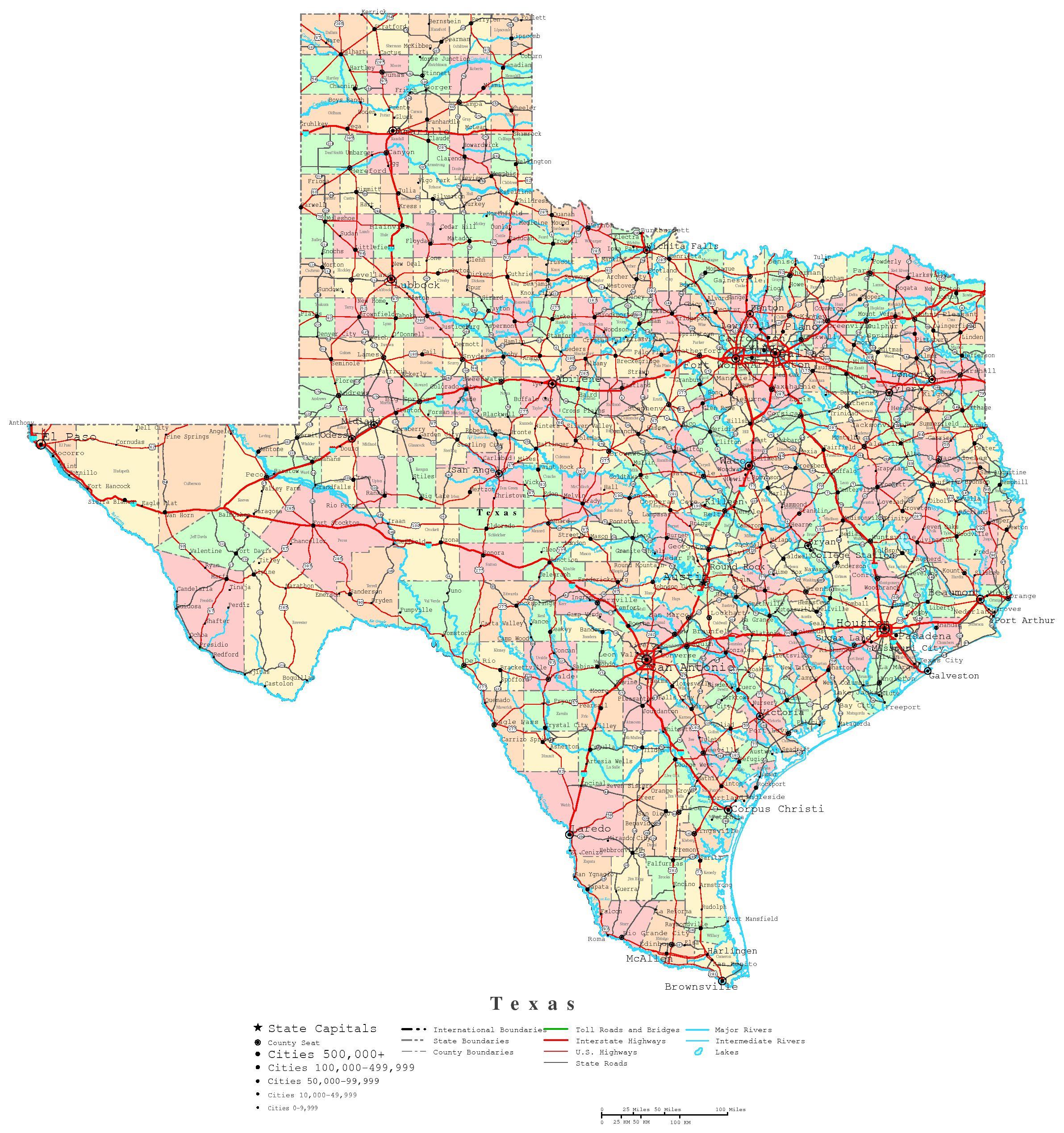 Texas Printable Map - Free Printable State Maps