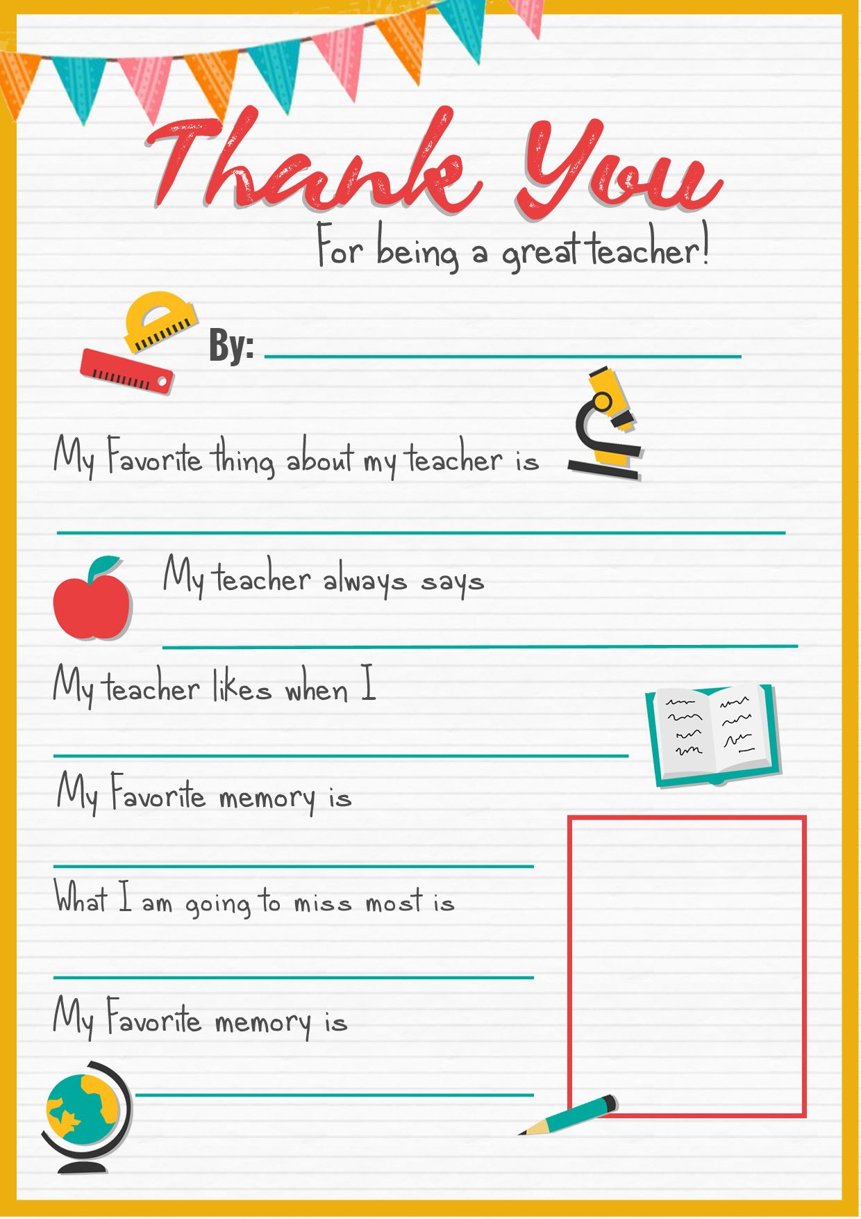 Thank You Teacher - A Free Printable | Stay At Home Mum | Teacher - All About My Teacher Free Printable