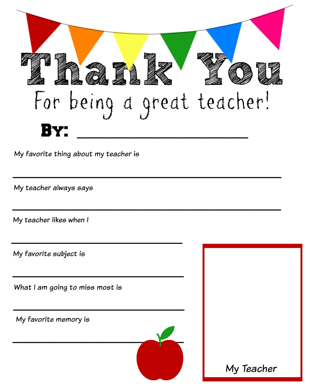 Thank You Teacher Free Printable   School Days   Pinterest   Teacher - Free Printable Thank You