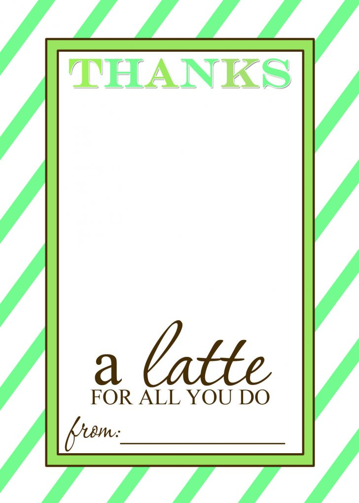 Thanks A Latte Free Printable