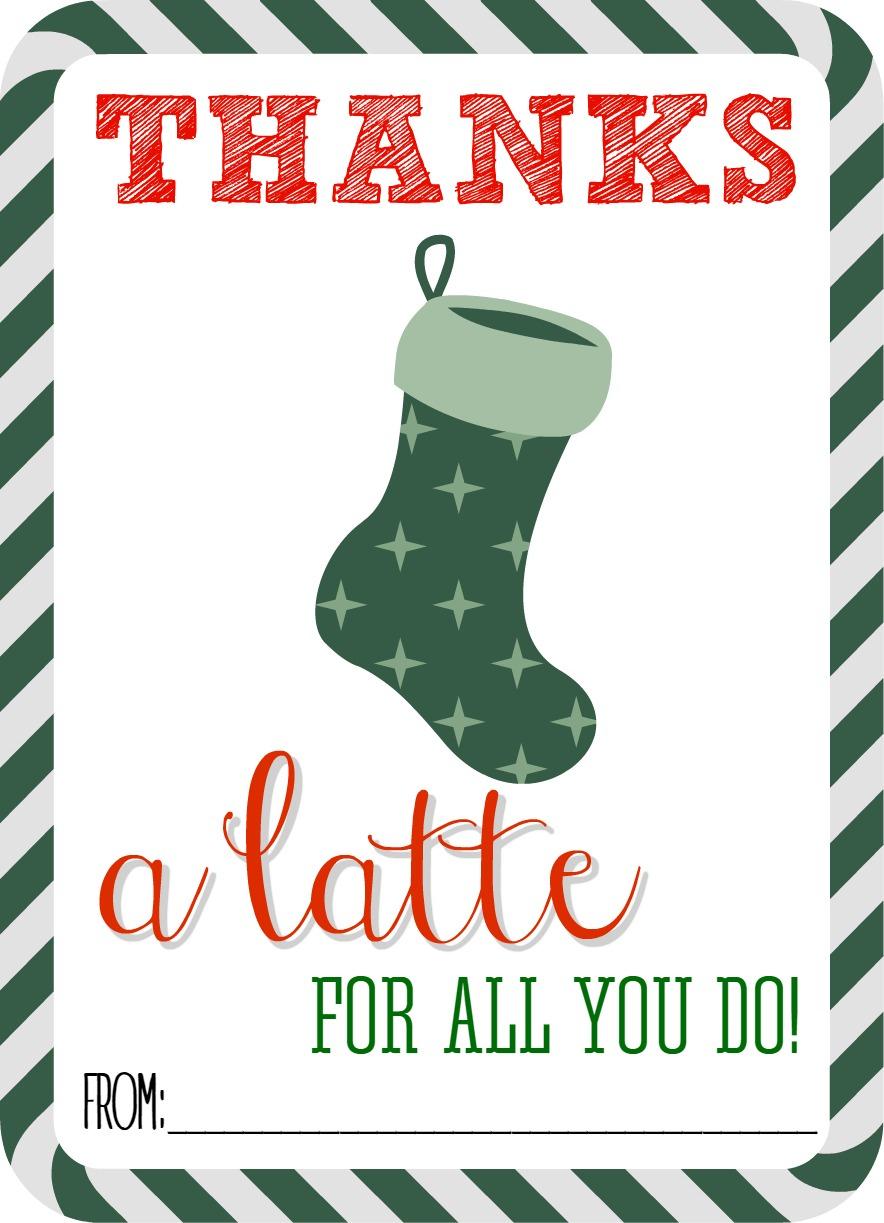 Thanks A Latte Free Printable - Thanks A Latte Free Printable Card