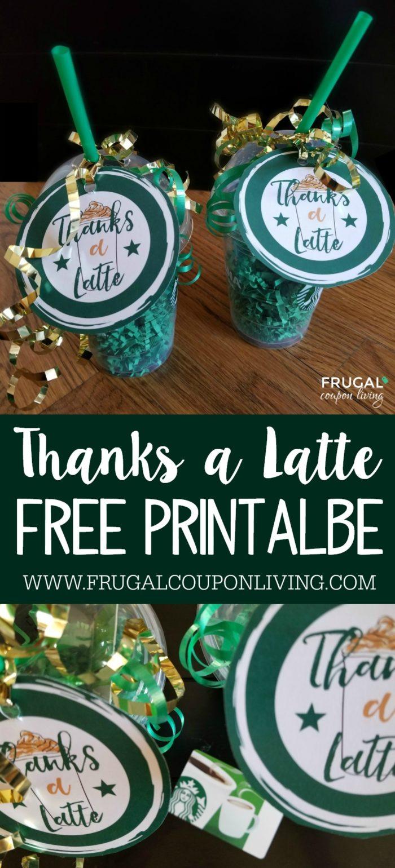 Thanks A Latte Printable - Starbucks Gift Card Tag - Free Starbucks Coupon Printable