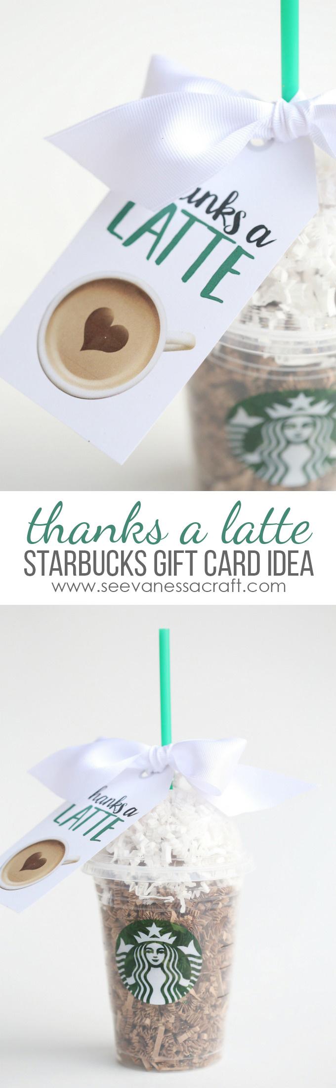 Thanks A Latte Starbucks Teacher Gift Idea - Thanks A Latte Free Printable Tag