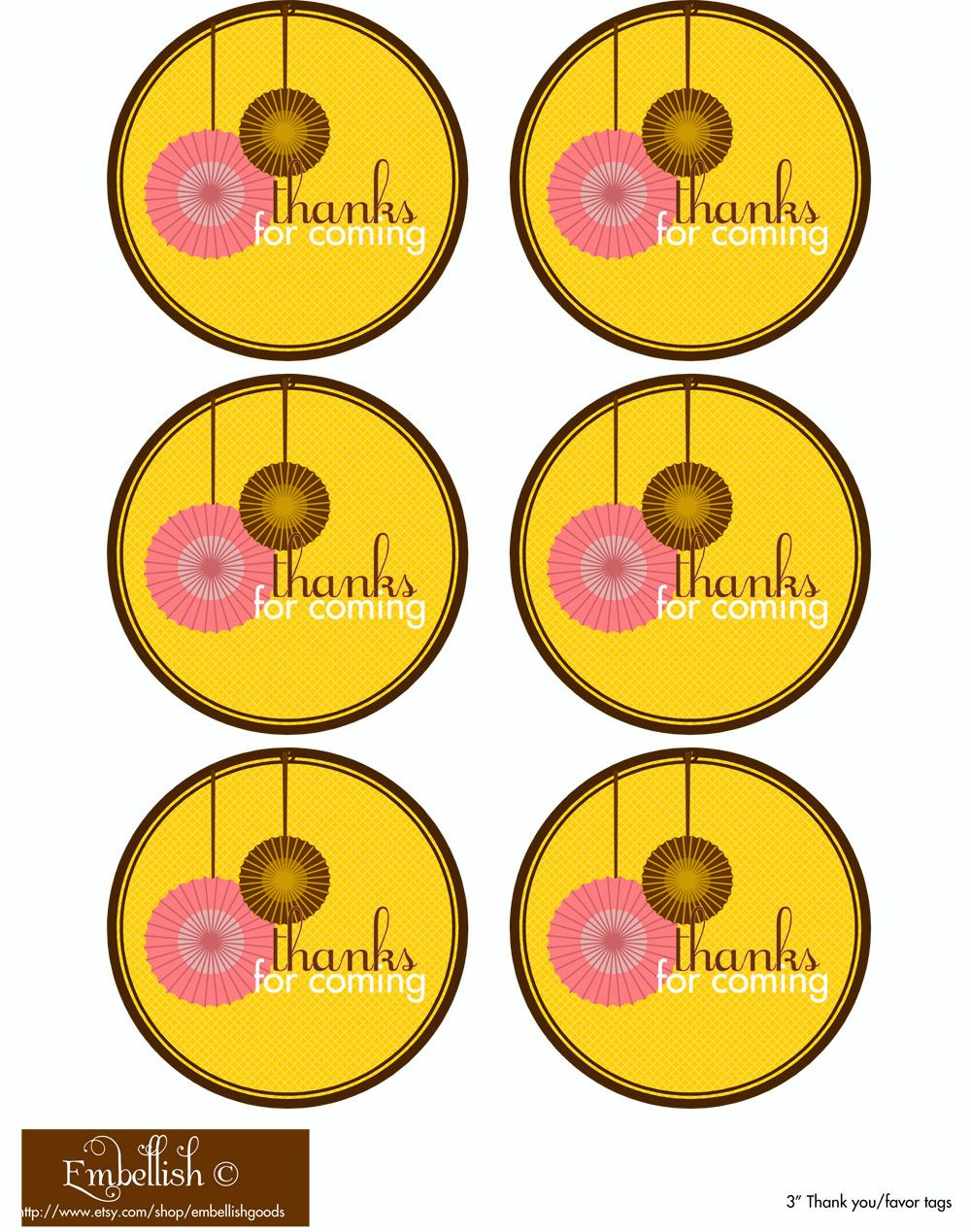 Thanks For Coming Free Printable Tags | Birthday Treats | Party - Thank You For Coming Free Printable Tags