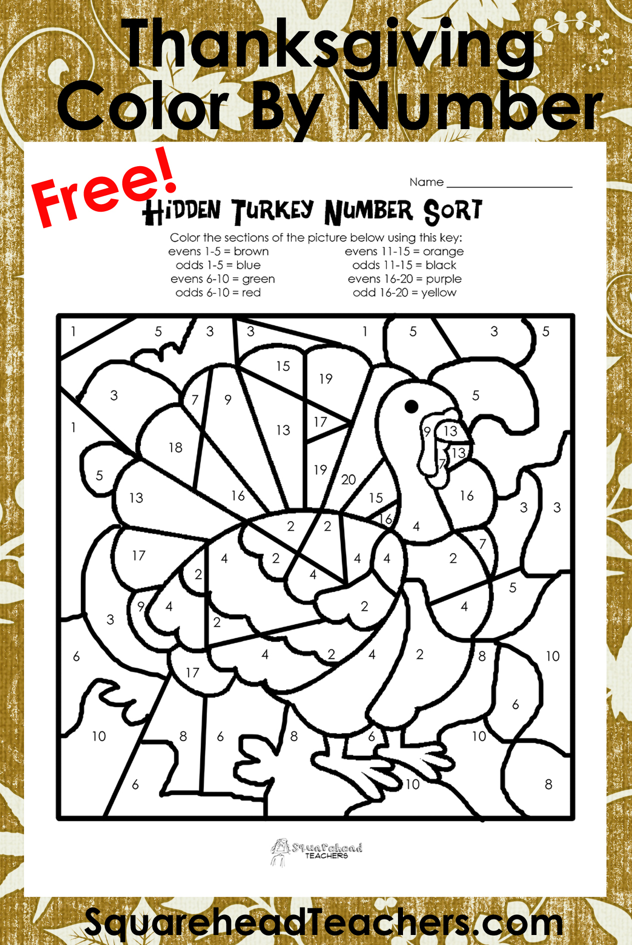 Thanksgiving Colornumber (Odd/evens Sort) | Squarehead Teachers - Math Worksheets Thanksgiving Free Printable