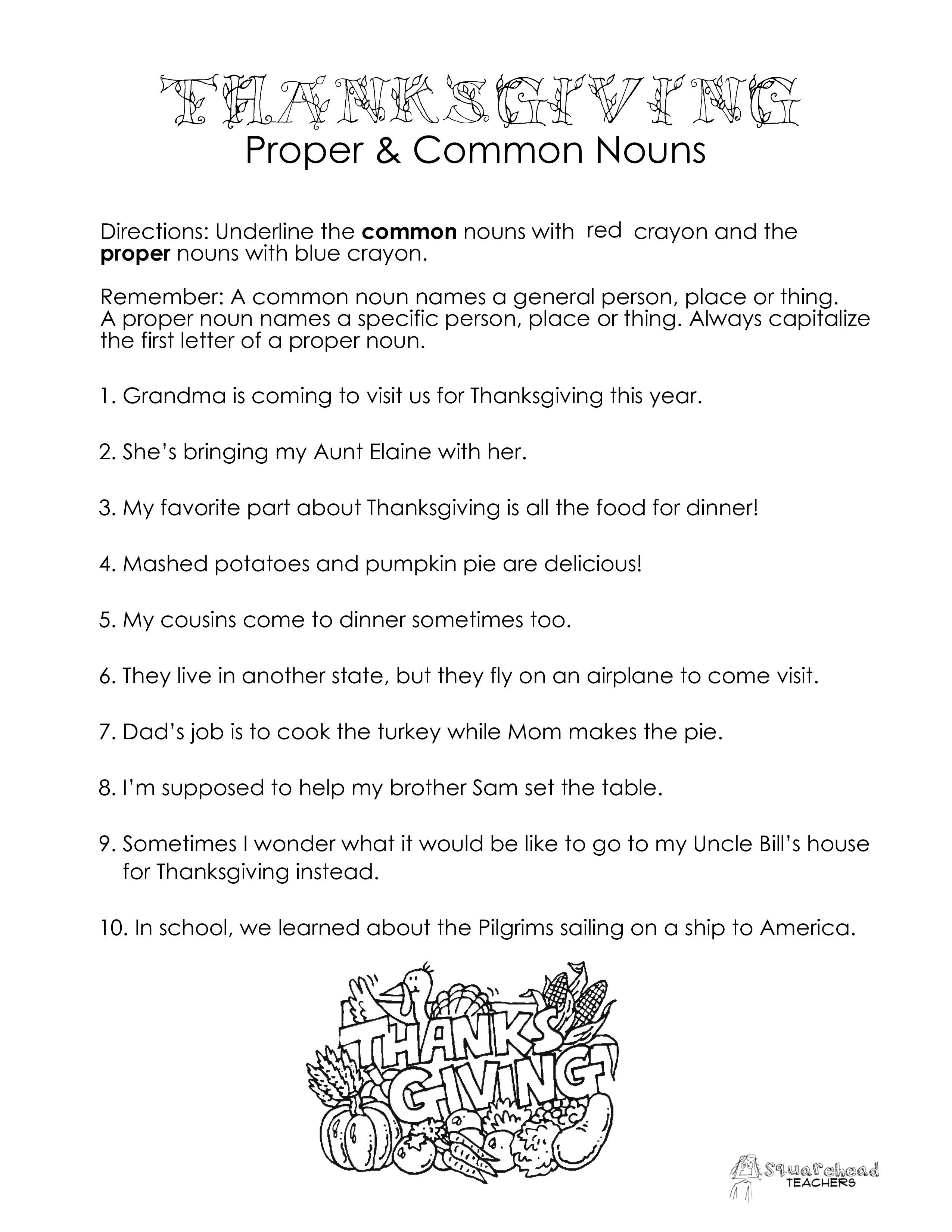 Thanksgiving Common Vs. Proper Nouns Worksheet | Squarehead Teachers - Free Printable Thanksgiving Worksheets For Middle School