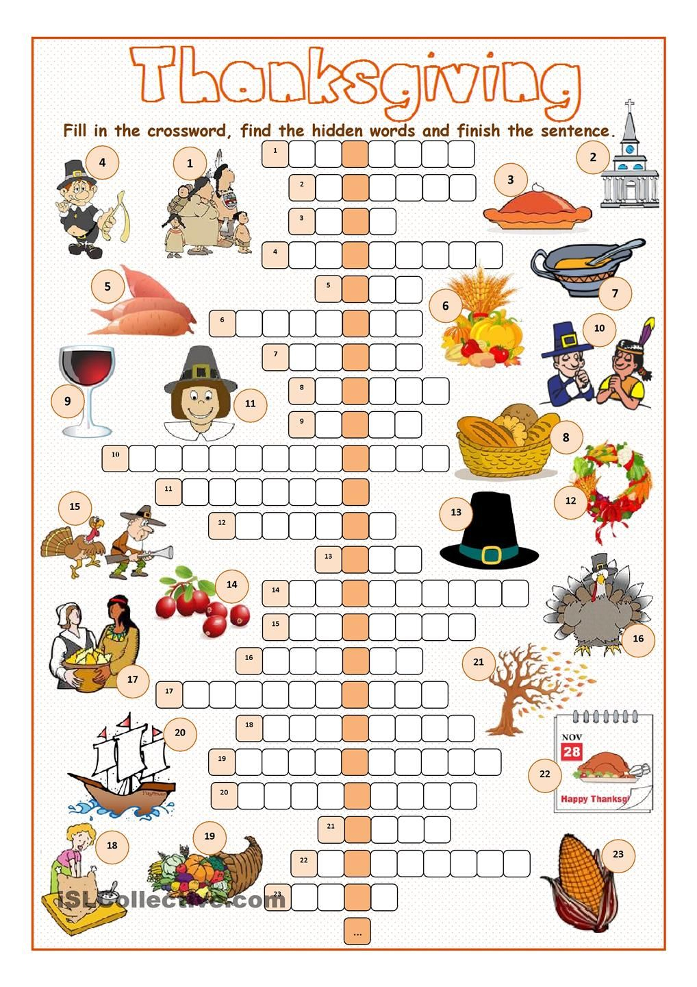 Thanksgiving Crossword Puzzle … | Salle De Classe | Pinte… - Thanksgiving Crossword Puzzles Printable Free