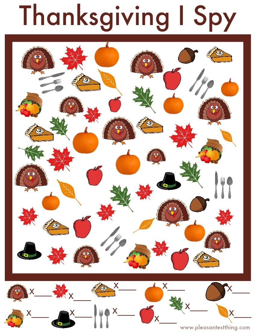 Thanksgiving I Spy Game - Free Printable | Thanksgivingpilgrams - Thanksgiving Games Printable Free