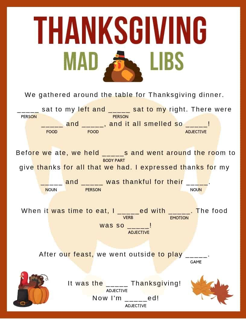 Thanksgiving Mad Libs | Girl Scouts | Pinterest | Thanksgiving Mad - Free Printable Thanksgiving Mad Libs