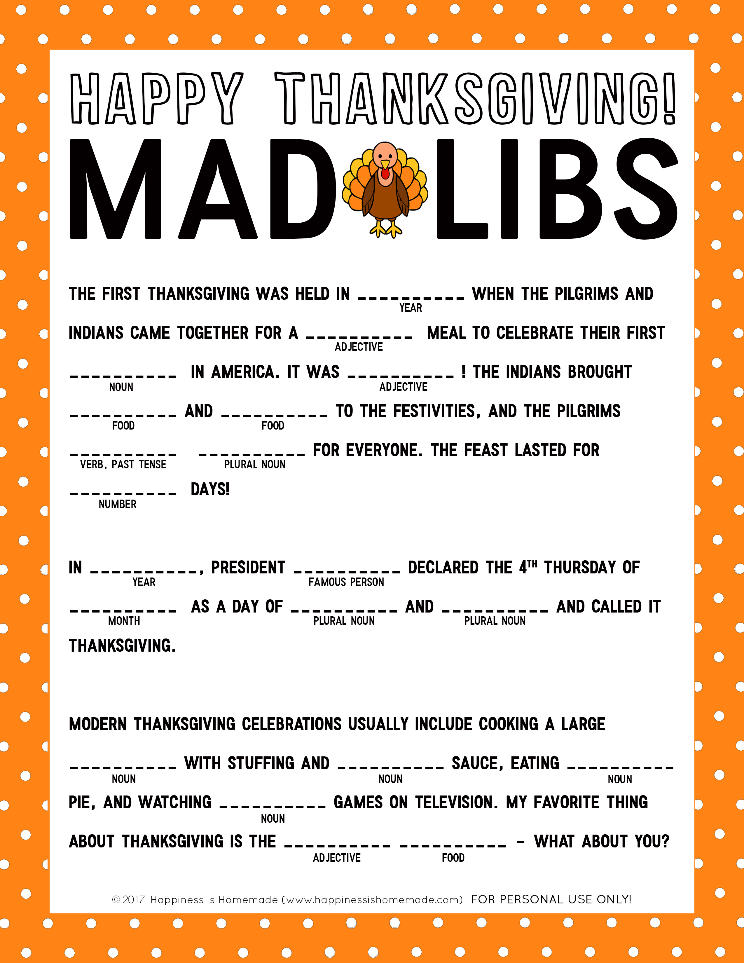 Thanksgiving Mad Libs Printable Game - Happiness Is Homemade - Free Printable Mad Libs For Tweens