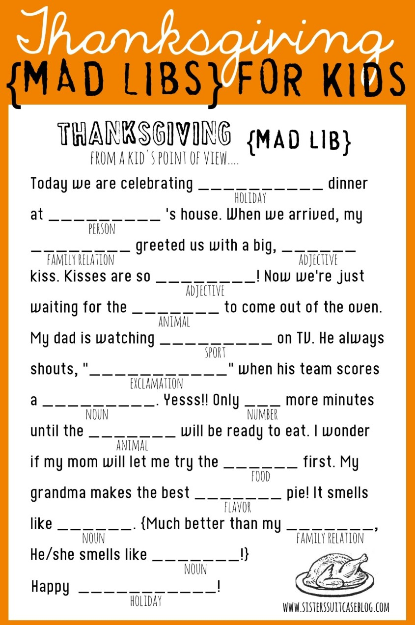 Thanksgiving Mad Libs Printable - My Sister's Suitcase - Packed With - Free Printable Thanksgiving Games For Adults