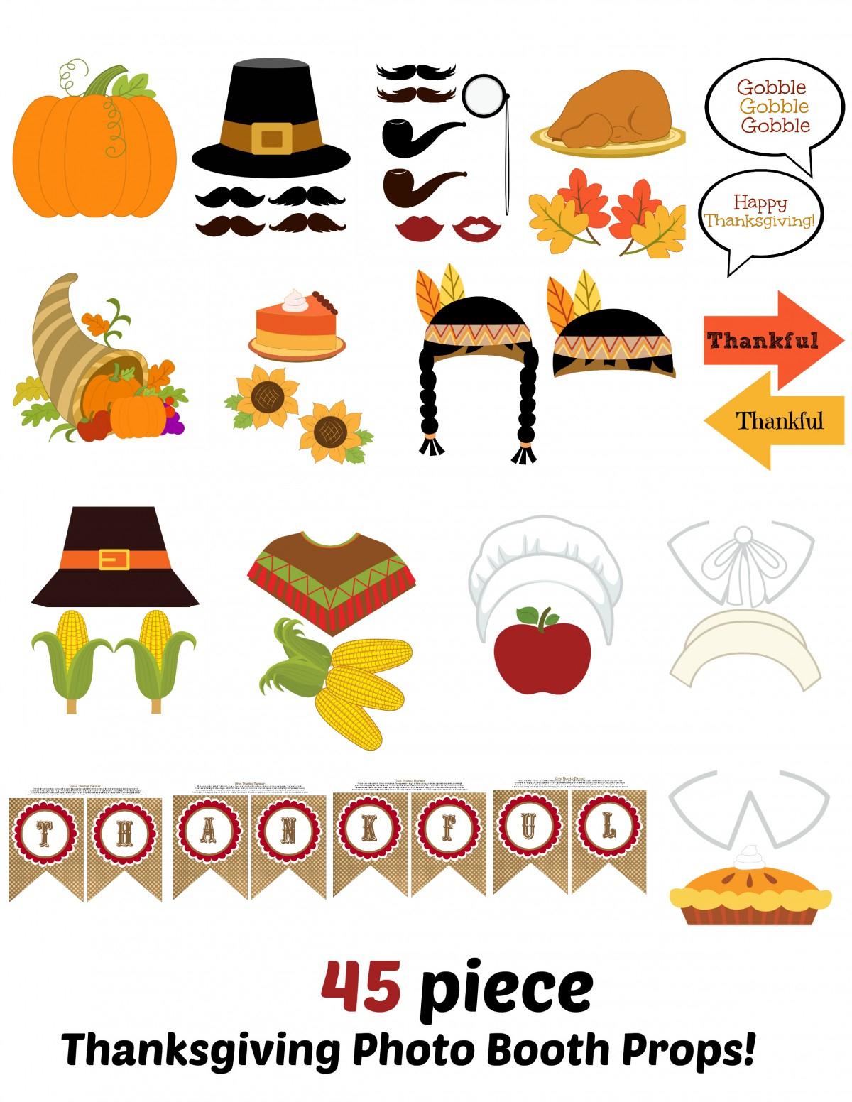 Thanksgiving Photo Booth Free Printables - Free Printable Thanksgiving Photo Props