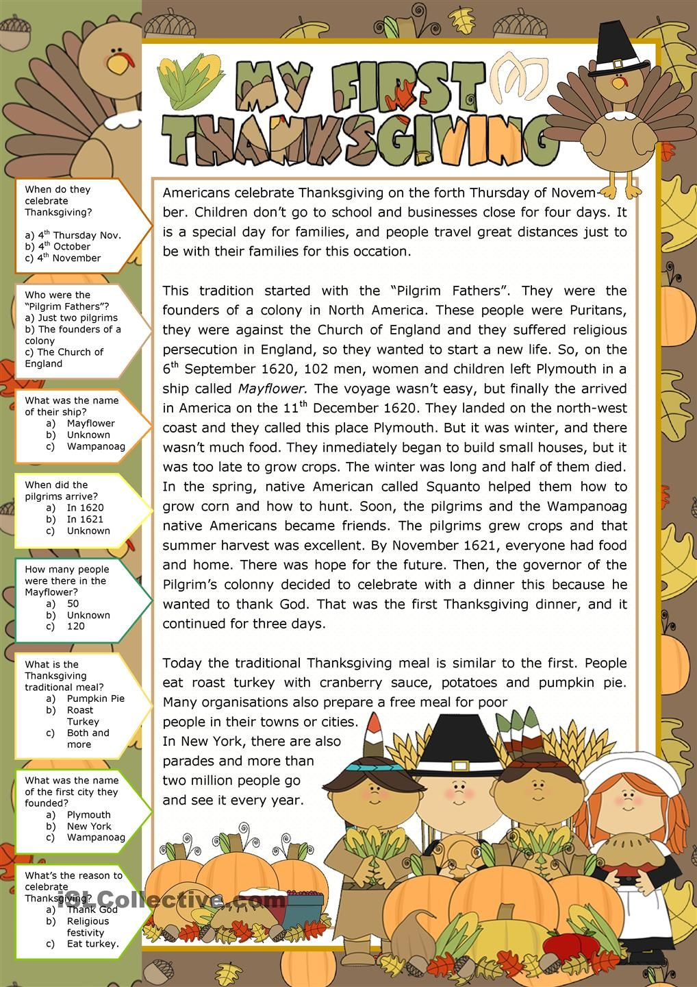 Thanksgiving - Reading Comprehension | Teaching Material - Free Printable Thanksgiving Worksheets For Middle School