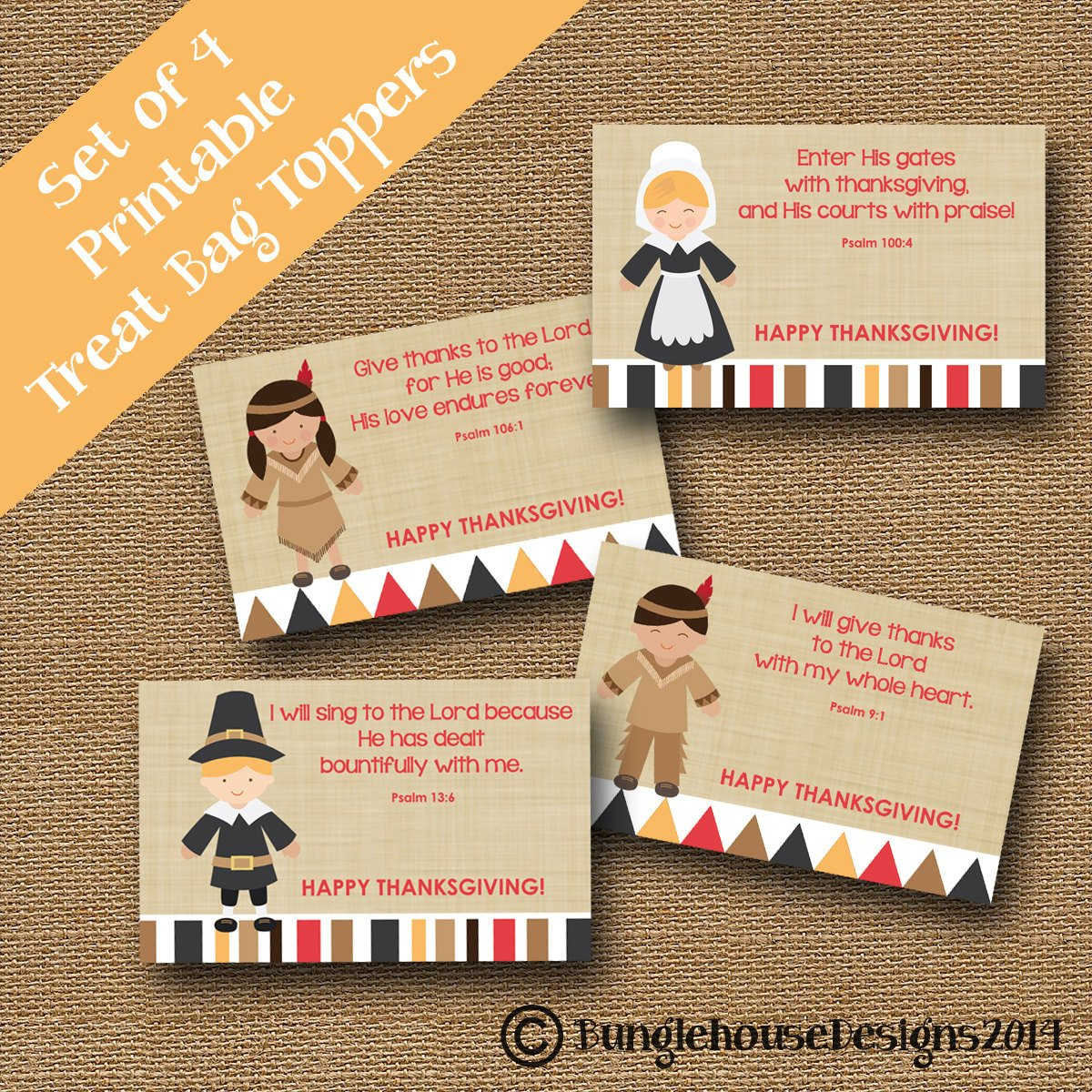Thanksgiving Treat Bag Toppers For Kids Pilgrims And Indians | Etsy - Free Printable Thanksgiving Treat Bag Toppers