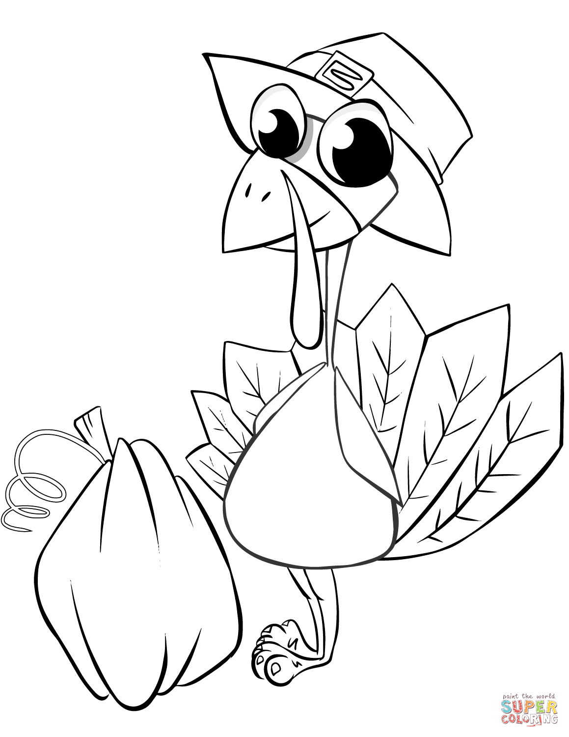 Thanksgiving Turkey With Pumpkin Coloring Page | Free Printable - Free Printable Pictures Of Turkeys To Color