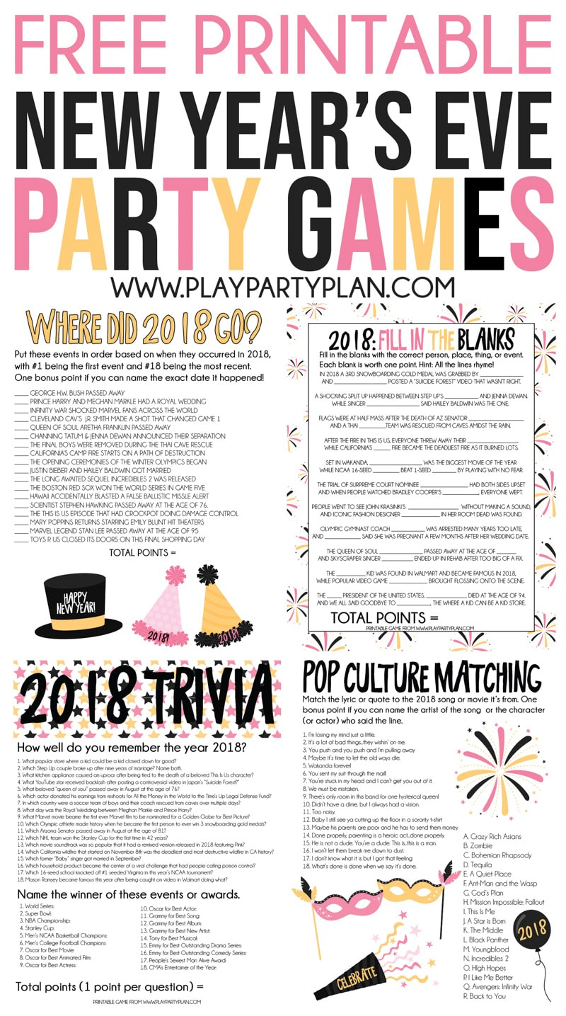 The Best 2018 New Year's Eve Games - Play Party Plan - Free Printable Games For Adults