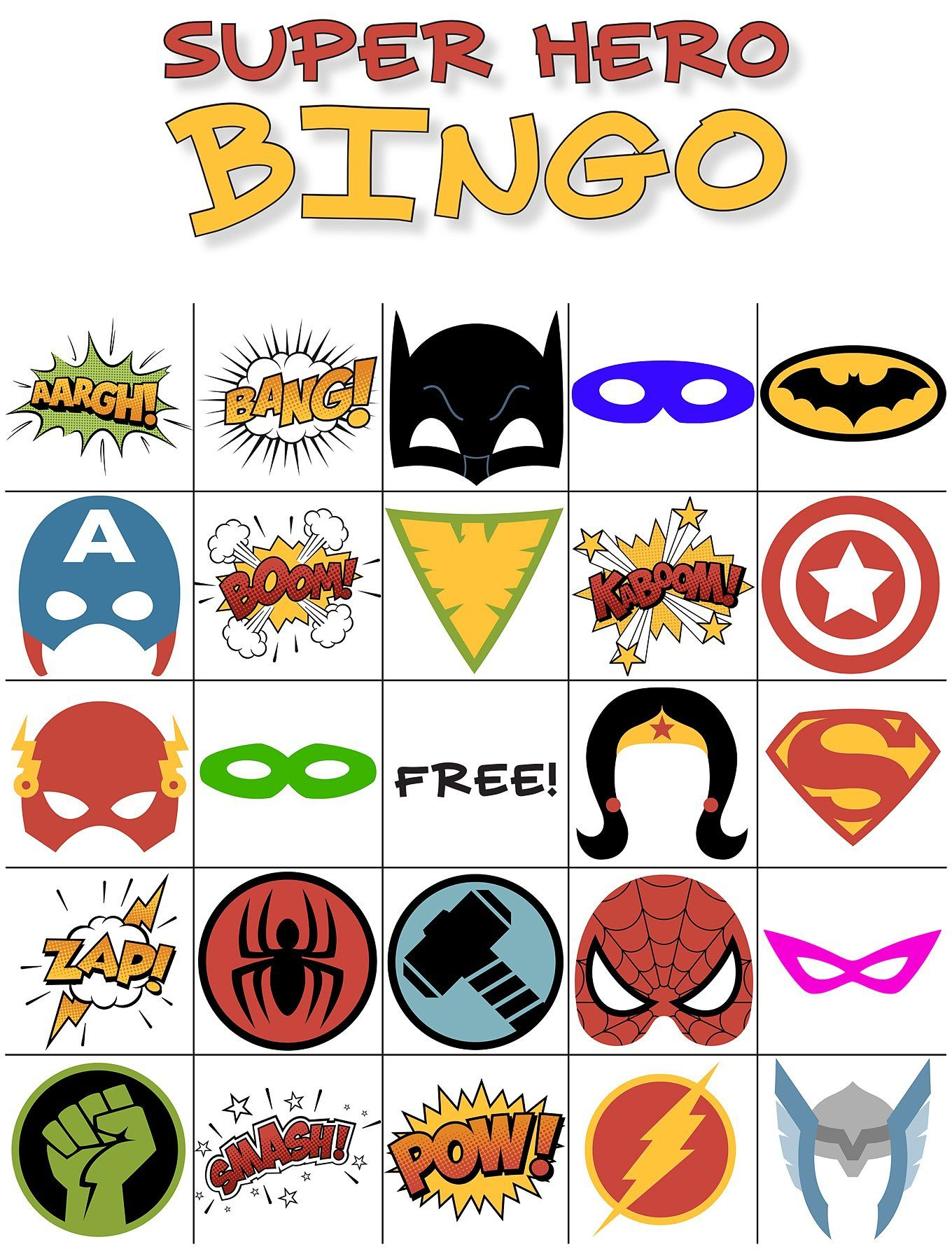 The Best Free Printable Superhero Bingo Game | Super Héros - Free Printable Superhero Pictures