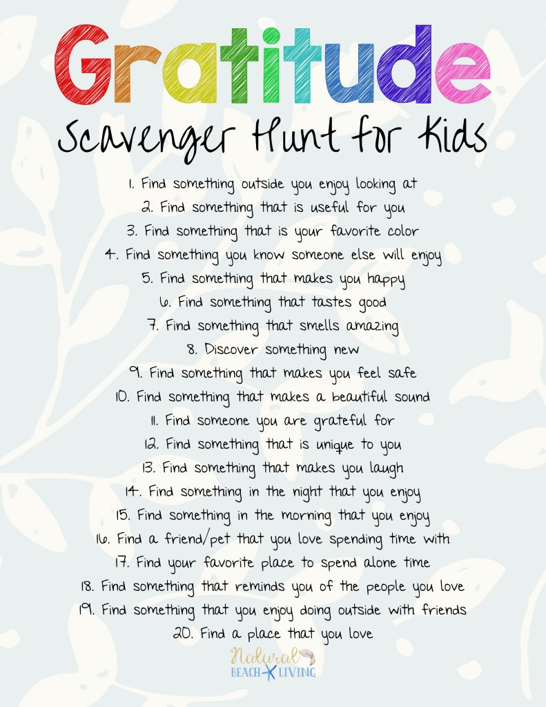 The Best Gratitude Scavenger Hunt For Kids And Adults - Natural - Free Printable Treasure Hunt Games