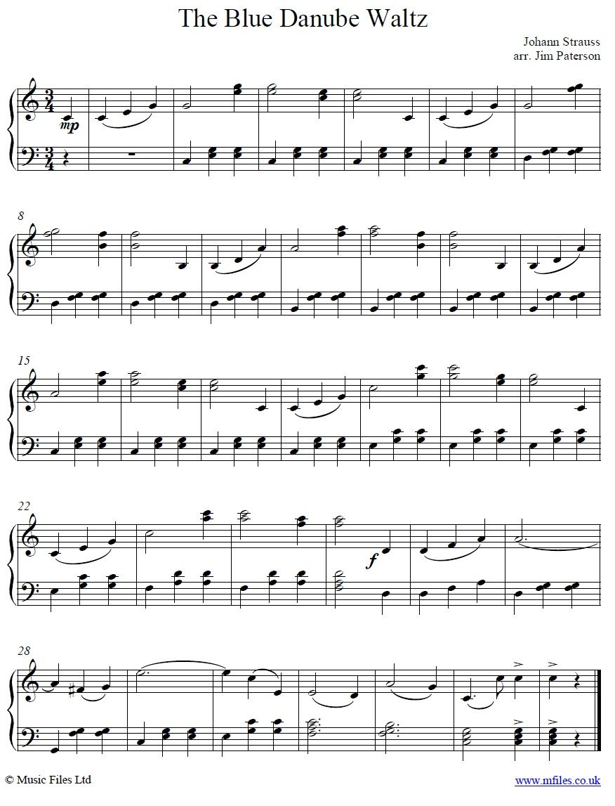 The Blue Danube Main Theme For Piano From Strauss' Waltz | Music In - Free Printable Classical Sheet Music For Piano