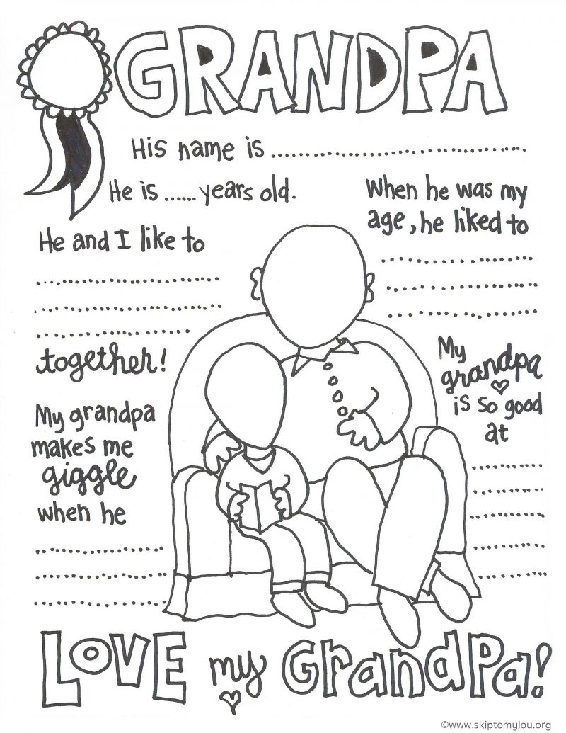 The Cutest Grandparents Day Coloring Pages | Skip To My Lou - Free Printable Happy Fathers Day Grandpa Cards
