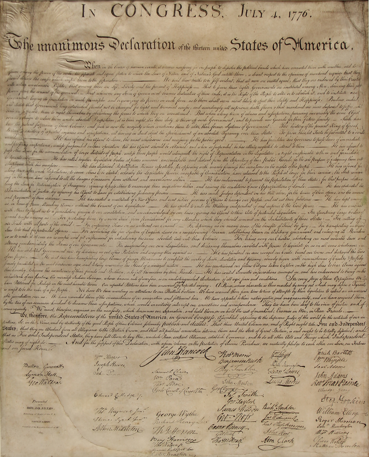 The Declaration Of Independence—William J. Stone Engraving - Free Printable Copy Of The Declaration Of Independence