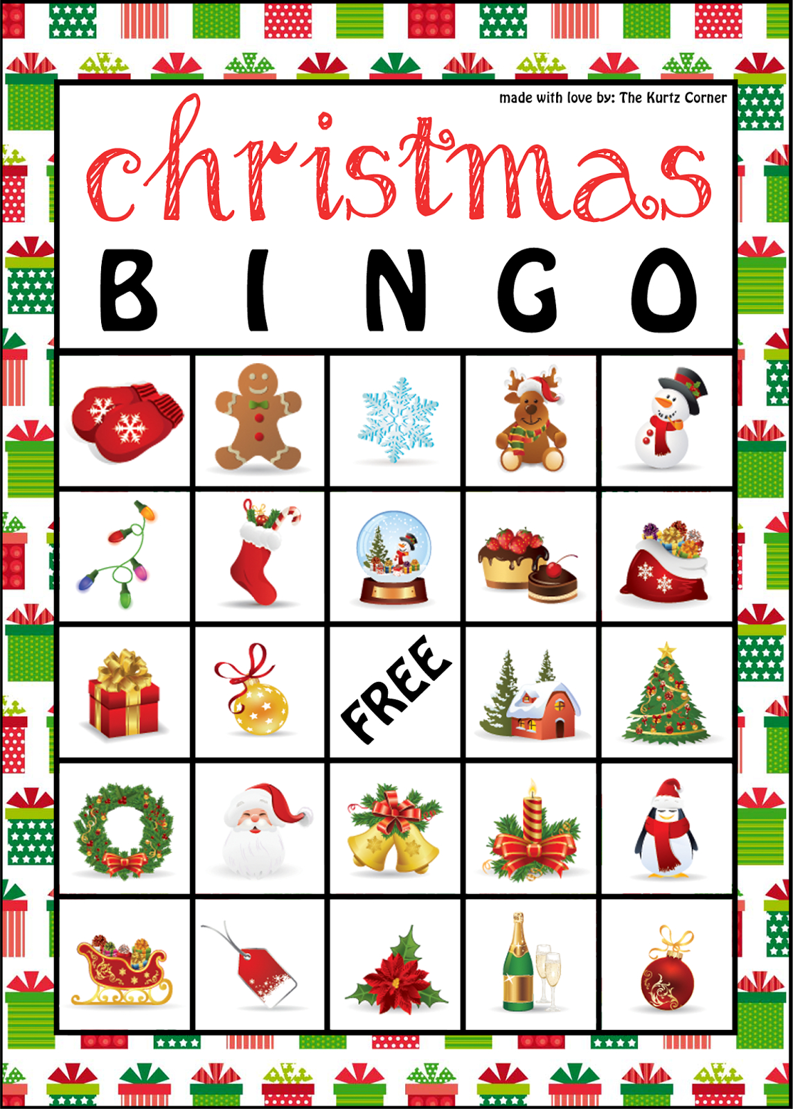 The Kurtz Corner: Free Printable Christmas Bingo Cards   Winter / X - Free Printable Christmas Bingo Cards