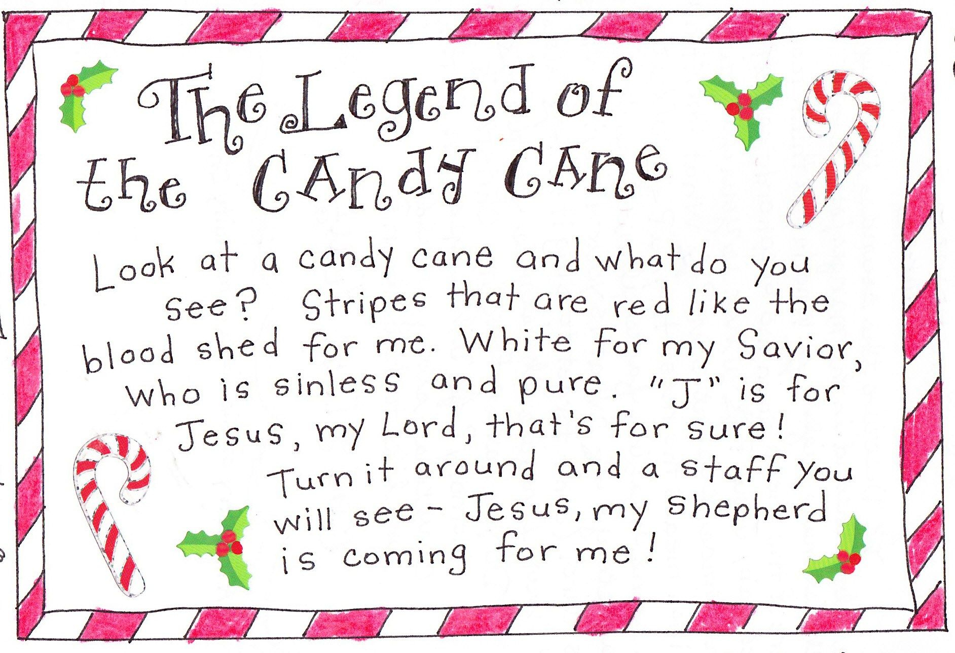 The Legend Of The Candy Cane - Free Printable | Christmas - Free Printable Candy Cane Poem