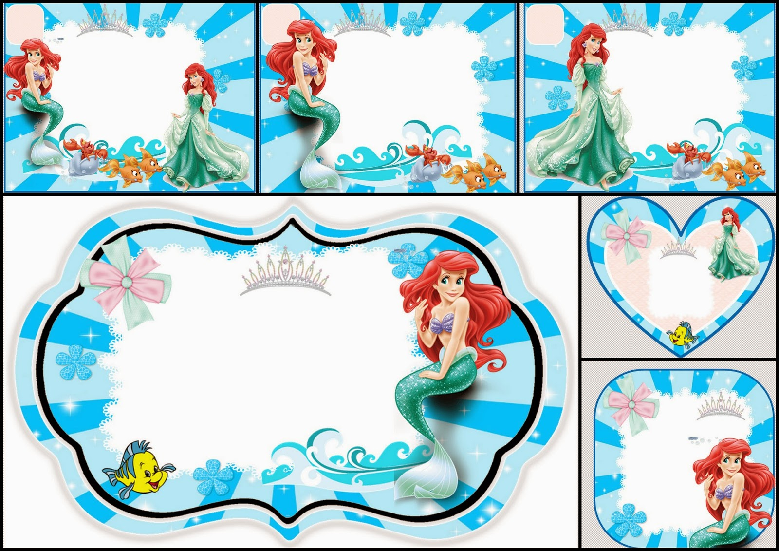 The Little Mermaid Free Printable Invitations, Cards Or Photo Frames - Free Little Mermaid Printable Invitations
