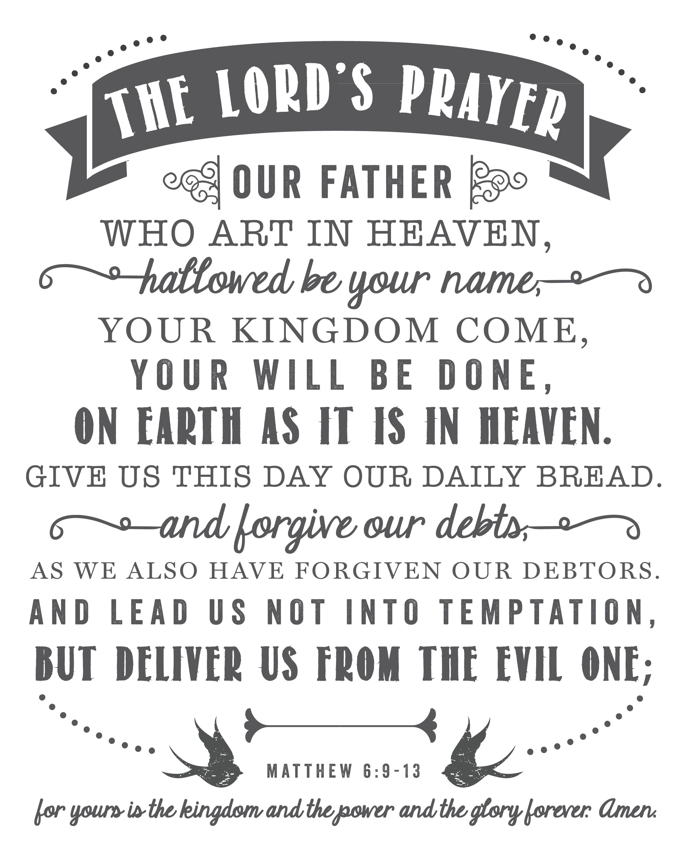 The Lord's Prayer   Free Printables - Printables That Are Free - For This Child We Have Prayed Free Printable
