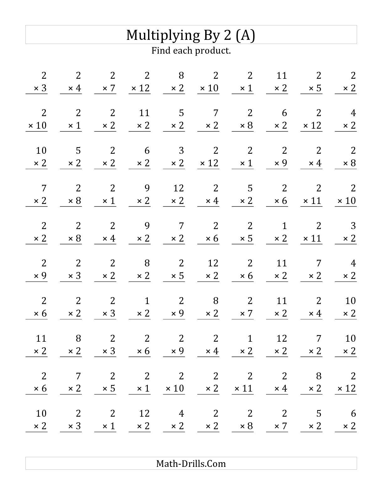 The Multiplying 1 To 122 (A) Math Worksheet From The - Free Printable Multiplication Timed Tests