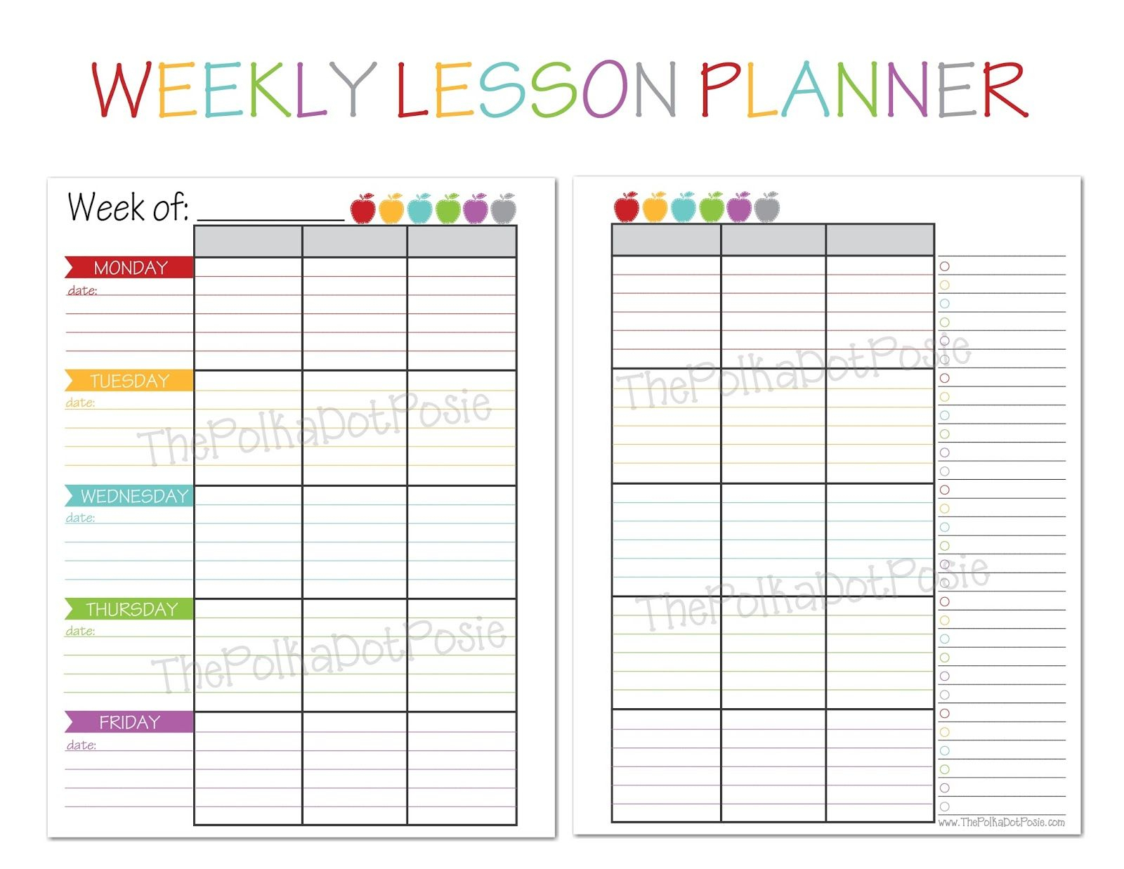 The Polka Dot Posie: New! Teacher & Homeschool Planners | Plan It - Free Printable Teacher Planner