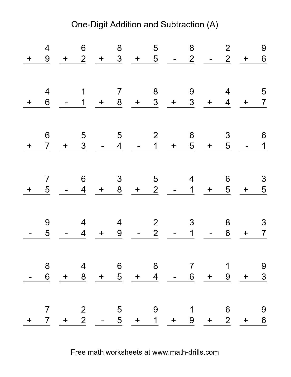The Single-Digit (A) Math Worksheet From The Combined Addition And - Free Printable Addition And Subtraction Worksheets