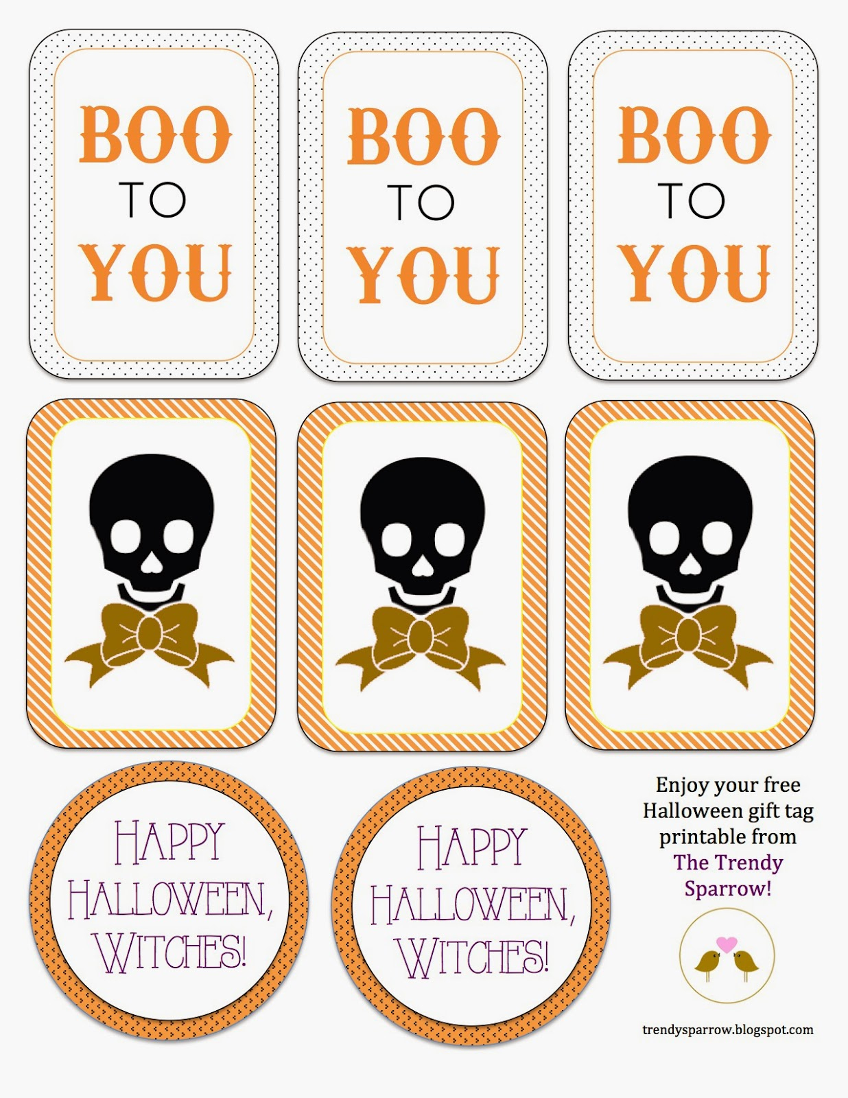 The Trendy Sparrow: Free Printable: Halloween Gift Tags - Free Printable Gift Bag Tags