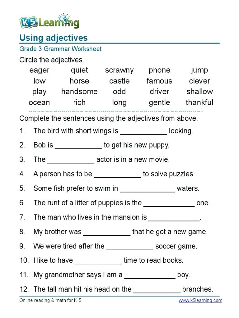 Third Grade Grammar Worksheets To Print - Math Worksheet For Kids - Free Printable Third Grade Grammar Worksheets