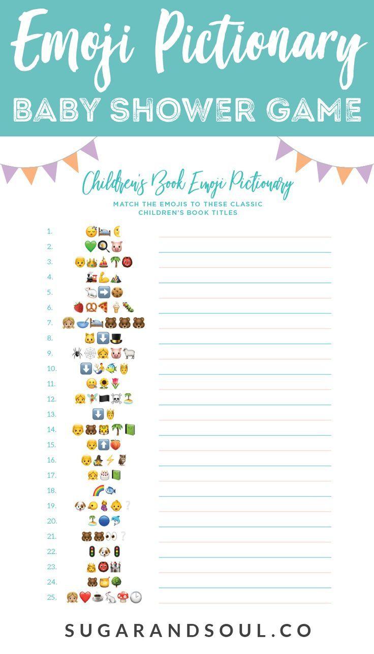 This Free Emoji Pictionary Baby Shower Game Printable Uses Emoji - Name That Tune Baby Shower Game Free Printable